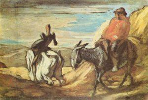 Sancho Panza y Don Quijote en versión de Honoré Daumier.