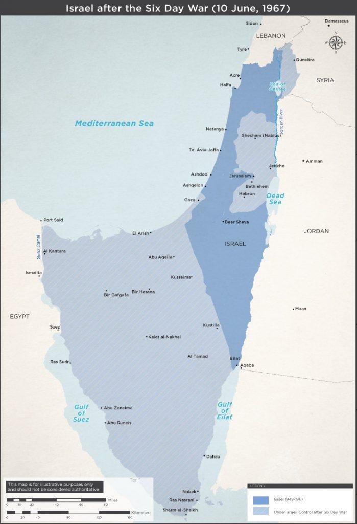 Mapa de Iarael antes y después de la Guerra de los Seis Días